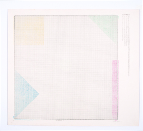 in Pictures for 'Charles Gaines: Gridwork 1974–1989' at The Studio Museum in Harlem. Image for Charles Gaines, Color Regression #1, 1978, Lithograph on BFK Rives; signed, dated and titled in pencil, 1980, 27 9/10 × 311⁄2 in. Collection of Rodney Harder. Photo: Marc Bernier