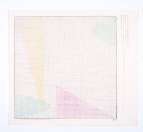in Pictures for 'Charles Gaines: Gridwork 1974–1989' at The Studio Museum in Harlem. Image for Charles Gaines, Color Regression #2, 1978, Lithograph on BFK Rives; signed, dated and titled in pencil, 1980, 27 9/10 × 311⁄2 in. Collection of Rodney Harder. Photo: Marc Bernier