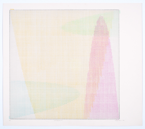in Pictures for 'Charles Gaines: Gridwork 1974–1989' at The Studio Museum in Harlem. Image for Charles Gaines, Color Regression #3, 1978, Lithograph on BFK Rives, signed, dated and titled in pencil, 1980, 27 9/10 × 311⁄2 in. Collection of Rodney Harder. Photo: Marc Bernier
