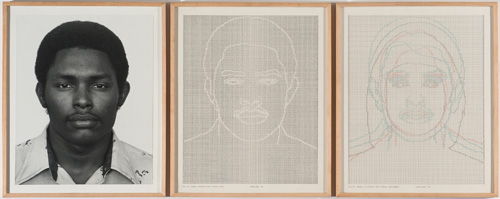 in Pictures for 'Charles Gaines: Gridwork 1974–1989' at The Studio Museum in Harlem. Image for Charles Gaines, Faces, Set #4: Stephan W. Walls, 1978, Photograph, ink on paper, Triptych: 23 × 19 in. each (framed); 23 × 57 in. (overall framed). Collection of Marc Lee. Courtesy the artist and Susanne Vielmetter Los Angeles Projects. Photo: Robert Wedemeyer