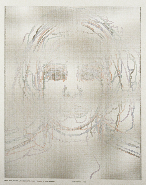 in Pictures for 'Charles Gaines: Gridwork 1974–1989' at The Studio Museum in Harlem. Image for Charles Gaines, Faces, Set #10: Terry Allen (detail), 1978, Photograph, ink on paper, Triptych: 23 × 19 in. each (framed); 23 × 57 in. (overall framed). Collection of Barbara Gaines