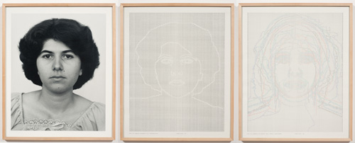 in Pictures for 'Charles Gaines: Gridwork 1974–1989' at The Studio Museum in Harlem. Image for Charles Gaines, Faces, Set #11: Mary Ann Aloojian, 1978, Photograph, ink on paper, Triptych: 23 × 19 in. each (framed); 23 × 57 in. (overall framed). Museum of Modern Art, New York; gift of Dian Woodner in honor of Dr. Stuart W. Lewis and The Friends of Education of The Museum of Modern Art 835.2011 a–c. Courtesy the artist and Susanne Vielmetter Los Angeles Projects. Photo: Robert Wedemeyer