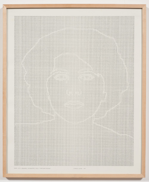 in Pictures for 'Charles Gaines: Gridwork 1974–1989' at The Studio Museum in Harlem. Image for Charles Gaines, Faces, Set #11: Mary Ann Aloojian (detail), 1978, Photograph, ink on paper, Triptych: 23 × 19 in. each (framed); 23 × 57 in. (overall framed). Museum of Modern Art, New York; gift of Dian Woodner in honor of Dr. Stuart W. Lewis and The Friends of Education of The Museum of Modern Art 835.2011 a–c. Courtesy the artist and Susanne Vielmetter Los Angeles Projects. Photo: Robert Wedemeyer