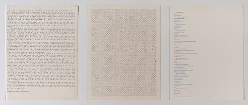"in Pictures for 'Charles Gaines: Gridwork 1974–1989' at The Studio Museum in Harlem. Image for Charles Gaines, Incomplete Text Set 3, ""B"" Blue Letters, 1979, Mixed media on paper, Triptych: 22 × 17 in. each; 261⁄2 x 57 x 11⁄2 in. (overall framed). The Museum of Contemporary Art, Los Angeles; purchased with funds provided by the Drawings Committee and a gift of Susanne Vielmetter Los Angeles Projects. Courtesy the artist and Susanne Vielmetter Los Angeles Projects. Photo: Robert Wedemeyer"