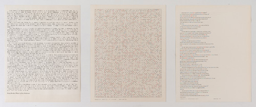 "in Pictures for 'Charles Gaines: Gridwork 1974–1989' at The Studio Museum in Harlem. Image for Charles Gaines, Incomplete Text Set 7, ""F"" Blue Letters, 1978–79, Mixed media on paper, Triptych: 22 × 17 in. each; 261⁄2 x 57 x 11⁄2 in. (overall framed). The Museum of Contemporary Art, Los Angeles; purchased with funds provided by the Drawings Committee and a gift of Susanne Vielmetter Los Angeles Projects. Courtesy the artist and Susanne Vielmetter Los Angeles Projects. Photo: Robert Wedemeyer"
