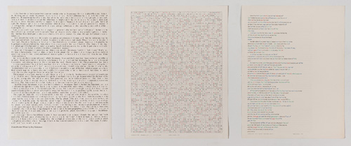 "in Pictures for 'Charles Gaines: Gridwork 1974–1989' at The Studio Museum in Harlem. Image for Charles Gaines, Incomplete Text Set 9, ""H"" Green Letters, 1978– 79, Mixed media on paper, Triptych: 22 × 17 in. each; 261⁄2 x 57 x 11⁄2 in. (overall framed). The Museum of Contemporary Art, Los Angeles; purchased with funds provided by the Drawings Committee and a gift of Susanne Vielmetter Los Angeles Projects. Courtesy the artist and Susanne Vielmetter Los Angeles Projects. Photo: Robert Wedemeyer"