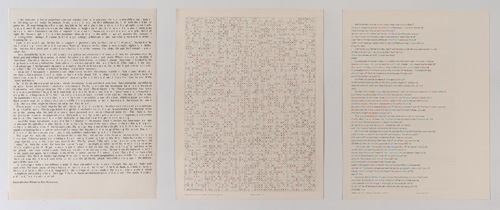 "in Pictures for 'Charles Gaines: Gridwork 1974–1989' at The Studio Museum in Harlem. Image for Charles Gaines, Incomplete Text Set 12, ""K"" Green Letters, 1979, Mixed media on paper, Triptych: 22 × 17 in. each; 261⁄2 x 57 x 11⁄2 in. (overall framed). The Museum of Contemporary Art, Los Angeles; purchased with funds provided by the Drawings Committee and a gift of Susanne Vielmetter Los Angeles Projects. Courtesy the artist and Susanne Vielmetter Los Angeles Projects. Photo: Robert Wedemeyer"