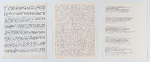 "in Pictures for 'Charles Gaines: Gridwork 1974–1989' at The Studio Museum in Harlem. Image for Charles Gaines, Incomplete Text Set 13, ""L"" Brown Letters, 1979, Mixed media on paper, Triptych: 22 × 17 in. each; 261⁄2 x 57 x 11⁄2 in. (overall framed). The Museum of Contemporary Art, Los Angeles; purchased with funds provided by the Drawings Committee and a gift of Susanne Vielmetter Los Angeles Projects. Courtesy the artist and Susanne Vielmetter Los Angeles Projects. Photo: Robert Wedemeyer"