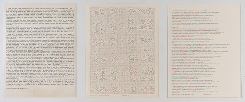 "in Pictures for 'Charles Gaines: Gridwork 1974–1989' at The Studio Museum in Harlem. Image for Charles Gaines, Incomplete Text Set 15, ""N"" Blue Letters, 1979, Mixed media on paper, Triptych: 22 × 17 in. each; 261⁄2 x 57 x 11⁄2 in. (overall framed). The Museum of Contemporary Art, Los Angeles; purchased with funds provided by the Drawings Committee and a gift of Susanne Vielmetter Los Angeles Projects. Courtesy the artist and Susanne Vielmetter Los Angeles Projects. Photo: Robert Wedemeyer"