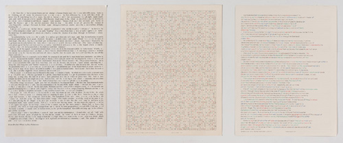 "in Pictures for 'Charles Gaines: Gridwork 1974–1989' at The Studio Museum in Harlem. Image for Charles Gaines, Incomplete Text Set 16, ""O"" Green Letters, 1979, Mixed media on paper, Triptych: 22 × 17 in. each; 261⁄2 x 57 x 11⁄2 in. (overall framed). The Museum of Contemporary Art, Los Angeles; purchased with funds provided by the Drawings Committee and a gift of Susanne Vielmetter Los Angeles Projects. Courtesy the artist and Susanne Vielmetter Los Angeles Projects. Photo: Robert Wedemeyer"