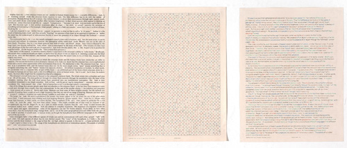 "in Pictures for 'Charles Gaines: Gridwork 1974–1989' at The Studio Museum in Harlem. Image for Charles Gaines, Incomplete Text Set 23, ""U"" Red Letters, 1979, Mixed media on paper, Triptych: 22 × 17 in. each; 261⁄2 x 57 x 11⁄2 in. (overall framed). The Museum of Contemporary Art, Los Angeles; purchased with funds provided by the Drawings Committee and a gift of Susanne Vielmetter Los Angeles Projects. Courtesy the artist and Susanne Vielmetter Los Angeles Projects. Photo: Robert Wedemeyer"