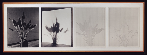in Pictures for 'Charles Gaines: Gridwork 1974–1989' at The Studio Museum in Harlem. Image for Charles Gaines, Shadows II, Set 1, 1980, Photographs, ink on paper, Four parts: 20 × 16 in. each; 241⁄2 × 72 in. (overall framed). Private collection. Courtesy Kent Fine Art, New York