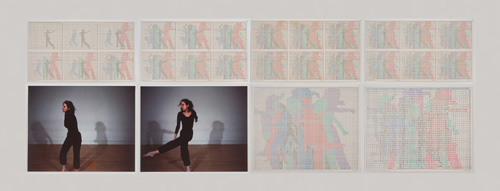 in Pictures for 'Charles Gaines: Gridwork 1974–1989' at The Studio Museum in Harlem. Image for Charles Gaines, Motion: Trisha Brown Dance, Set #11, 1980–81, Color photographs and ink on Strathmore paper Eight parts: 4 small drawings, 11 × 191⁄2 in. each; 2 large drawings and 2 photographs, 16 × 20 in. each; 31 1⁄8 × 841⁄2 × 2 in. (overall framed). Collection of Dean Valentine and Amy Adelson. Courtesy Susanne Vielmetter Los Angeles Projects. Photo: Robert Wedemeyer