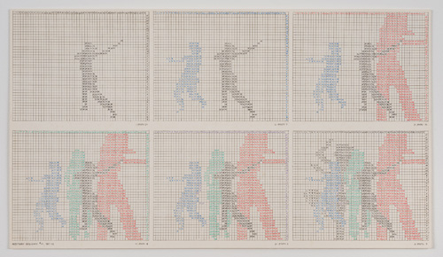 in Pictures for 'Charles Gaines: Gridwork 1974–1989' at The Studio Museum in Harlem. Image for Charles Gaines, Motion: Trisha Brown Dance, Set #11 (detail), 1980–81, Color photographs and ink on Strathmore paper Eight parts: 4 small drawings, 11 × 191⁄2 in. each; 2 large drawings and 2 photographs, 16 × 20 in. each; 31 1⁄8 × 841⁄2 × 2 in. (overall framed). Collection of Dean Valentine and Amy Adelson. Courtesy Susanne Vielmetter Los Angeles Projects. Photo: Robert Wedemeyer