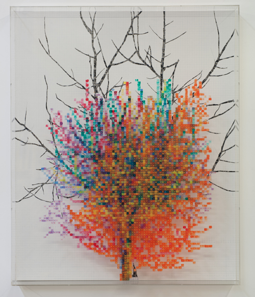 in Pictures for 'Charles Gaines: Gridwork 1974–1989' at The Studio Museum in Harlem. Image for Charles Gaines, Numbers and Trees, Xeno, #6, 1986, Acrylic paint on acrylic sheet and Masonite, 59 × 481⁄2 × 53⁄4 in. Collection of David Hoberman. Courtesy Susanne Vielmetter Los Angeles Projects. Photo: Robert Wedemeyer