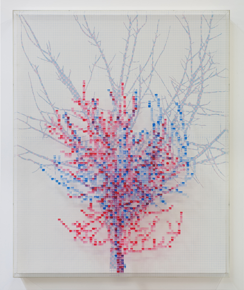 in Pictures for 'Charles Gaines: Gridwork 1974–1989' at The Studio Museum in Harlem. Image for Charles Gaines, Numbers and Trees I, Gertrude, #2, 1986, Acrylic paint on acrylic sheet and Masonite, 59 × 481⁄2 × 53⁄4 in. Collection of Leslie Frame. Courtesy Susanne Vielmetter Los Angeles Projects. Photo: Robert Wedemeyer