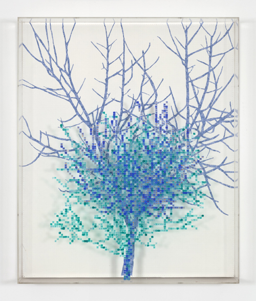 in Pictures for 'Charles Gaines: Gridwork 1974–1989' at The Studio Museum in Harlem. Image for Charles Gaines, Numbers and Trees II, Judd #2, 1987, Watercolor, ink and pencil, on Masonite and acrylic sheet, 47 5⁄8 × 39 5⁄8 × 5 1⁄8 in. Courtesy the artist and Paula Cooper Gallery, New York. Photo: Steve Probert