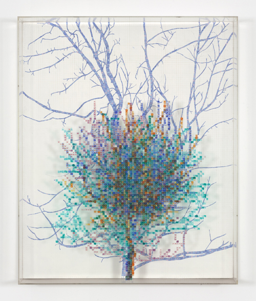 in Pictures for 'Charles Gaines: Gridwork 1974–1989' at The Studio Museum in Harlem. Image for Charles Gaines, Numbers and Trees II, Spike #4, 1987, Watercolor, ink and pencil on Masonite and acrylic sheet, 48 × 391⁄2 in. Courtesy the artist and Susanne Vielmetter Los Angeles Projects. Photo: Robert Wedemeyer