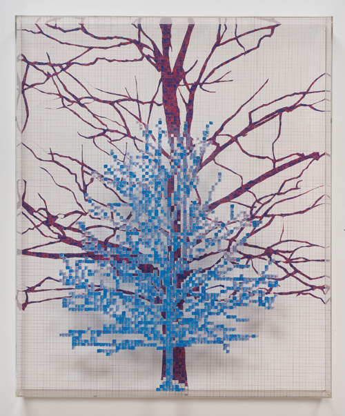 in Pictures for 'Charles Gaines: Gridwork 1974–1989' at The Studio Museum in Harlem. Image for Charles Gaines, Numbers and Trees III, Box #1, 1987, Acrylic paint on acrylic sheet and Masonite, 50 1⁄4 × 42 1⁄4 in. Collection of Dan and Jeanne Fauci. Courtesy the artist and Susanne Vielmetter Los Angeles Projects. Photo: Robert Wedemeyer