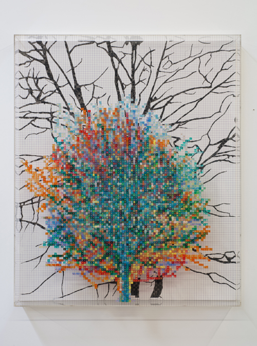 in Pictures for 'Charles Gaines: Gridwork 1974–1989' at The Studio Museum in Harlem. Image for Charles Gaines, Number and Trees III, Shag, #8, 1987, Acrylic paint on acrylic sheet and Masonite, 50 1⁄4 × 42 in. Collection of Paul and Linda Gotskind. Courtesy the artist and Susanne Vielmetter Los Angeles Projects. Photo: Robert Wedemeyer