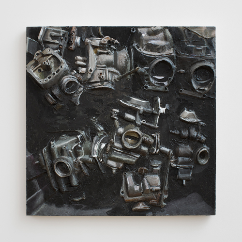 in Pictures for Gina Beavers at Clifton Benevento. Image for Gina Beavers, Basket of Carburetors, 2014, Acrylic on linen, artist frame, 30 x 30 inches. Courtsey the artist and Clifton Benevento