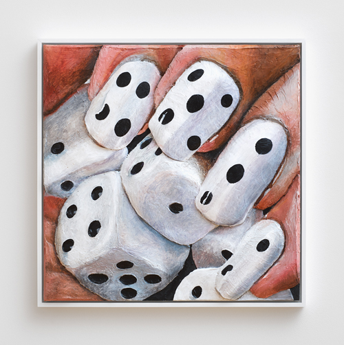 in Pictures for Gina Beavers at Clifton Benevento. Image for Gina Beavers, Dice nail love, 2014, Acrylic on canvas, artist frame, 30 x 30 inches. Courtsey the artist and Clifton Benevento
