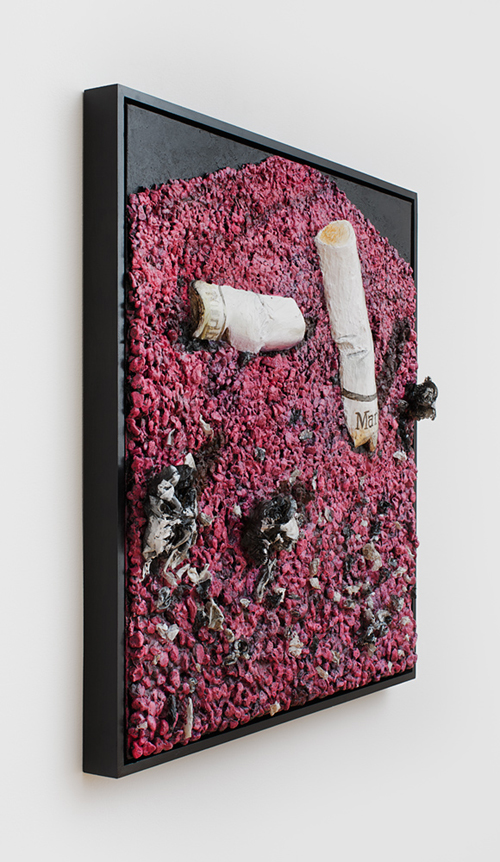 in Pictures for Gina Beavers at Clifton Benevento. Image for Gina Beavers, Nice shot, 2014, Acrylic and rocks on canvas, artist frame, 30 x 30 inches. Courtsey the artist and Clifton Benevento