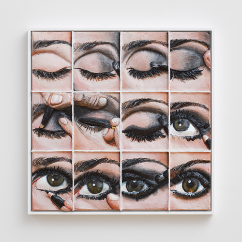 in Pictures for Gina Beavers at Clifton Benevento. Image for Gina Beavers, Smokey eye tutorial, 2014, Acrylic and wood on canvas, artist frame, 30 x 30 inches. Courtsey the artist and Clifton Benevento