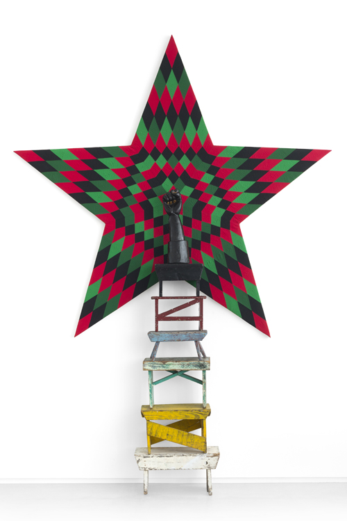 in Pictures for Nick Cave at Jack Shainman Gallery. Image for Nick Cave, Star Power, 2014, mixed media including wooden fist, vintage stools, and star quilt, 84 1/4 x 88 5/8 x 1 7/8 inches © Nick Cave. Photo by James Prinz Photography. Courtesy of the artist and Jack Shainman Gallery, New York