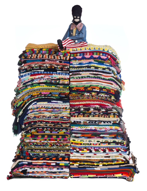 in Pictures for Nick Cave at Jack Shainman Gallery. Image for Nick Cave, King of the Hill, 2014, mixed media including Golliwog costume, afghans, mannequin and metal, Approximately 105 x 38 x 48 inches © Nick Cave. Photo by James Prinz Photography. Courtesy of the artist and Jack Shainman Gallery, New York