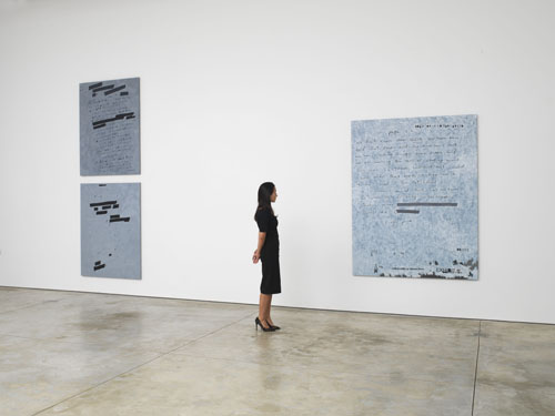 in Pictures for Jenny Holzer at Cheim & Read. Image for Installation view of Jenny Holzer: Dust Paintings at Cheim & Read, New York, 2014. © Jenny Holzer, member Artists Rights Society (ARS), NY. Courtesy Cheim & Read, New York.