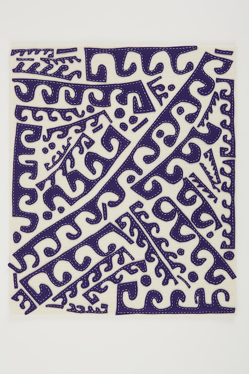 in Pictures for 'Thread Lines' at The Drawing Center. Image for William J. O'Brien, Untitled, 2013, Felt on felt, Six parts each: 23 7/8 x 19 3/4 inches. Courtesy of the artist and Marianne Boesky Gallery, New York.