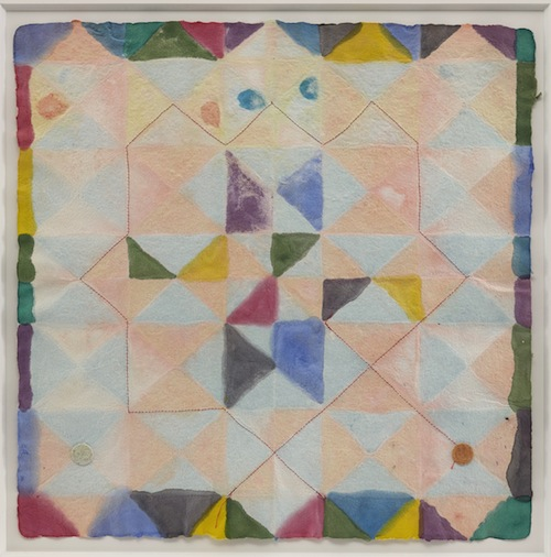 in Pictures for 'Thread Lines' at The Drawing Center. Image for Alan Shields, Colors in Clay, 1988, Watercolor, stitching on handmade paper, 18 x 18 inches. Courtesy of the Estate and Van Doren Waxter.