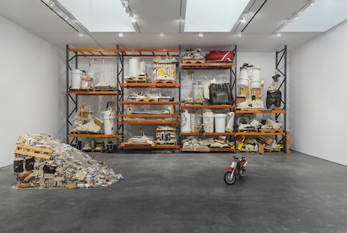 in Pictures for Jason Rhoades at David Zwirner. Image for Jason Rhoades, Installation view Iwan's Rack (2003-2004) and PeaRoe Ramp (from Wastewedge, Part of Impetuous Process, 2002), with Embedded HiFi and Honda XR5 (2003) from the 2014 solo show Jason Rhoades: PeaRoeFoam at David Zwirner, NY. Iwan's Rack: Collection of Iwan and Manuela Wirth. Courtesy David Zwirner, New York/London