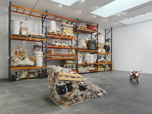 in Pictures for Jason Rhoades at David Zwirner. Image for Jason Rhoades, Installation view Iwan's Rack (2003-2004) and PeaRoe Ramp (from Wastewedge, Part of Impetuous Process, 2002), with Embedded HiFi and Honda XR5 (2003) from the 2014 solo show Jason Rhoades: PeaRoeFoam at David Zwirner, NY. Iwan's Rack: Collection of Iwan and Manuela Wirth. Courtesy David Zwirner, New York/London Download full resolution image