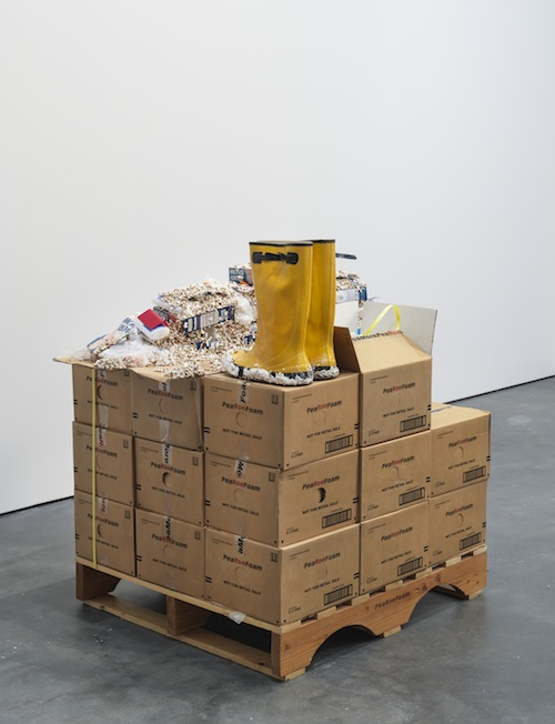 in Pictures for Jason Rhoades at David Zwirner. Image for Jason Rhoades, Installation view of PeaRoeFoam Pallet with Sculpture from Vienna (2002) from the 2014 solo show Jason Rhoades: PeaRoeFoam at David Zwirner, NY. Courtesy David Zwirner, New York/London