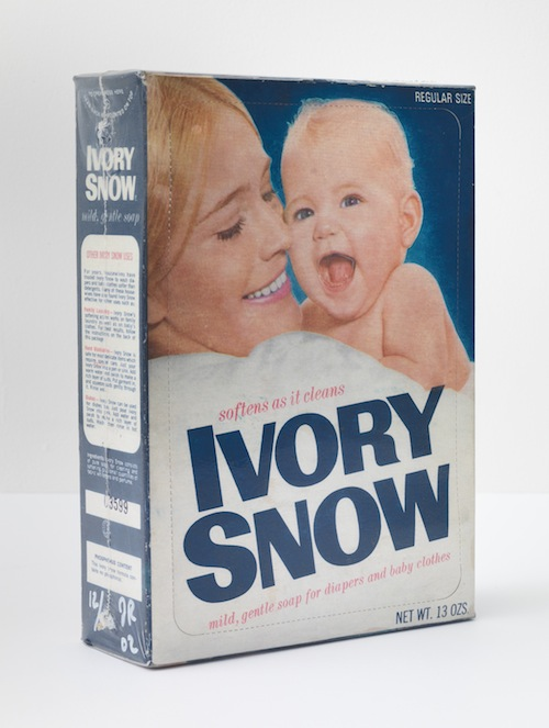 in Pictures for Jason Rhoades at David Zwirner. Image for Jason Rhoades, Ivory Snow Refrigerator Magnet, 2002, Shrink-wrapped cardboard box with interior aluminum frame and magnet, 8 1/2 x 6 x 2 inches (21.6 x 15.2 x 5.1 cm). Courtesy Estate of Jason Rhoades and David Zwirner, New York/London
