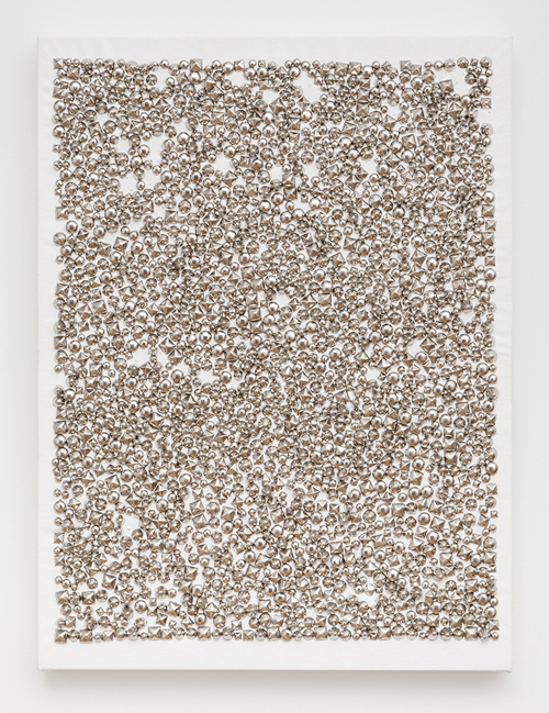 in Pictures for 'Move the world back from the abyss of destruction' at JTT. Image for Dan Colen, The Fifth Century, 2013, studs on canvas, 24 x 18 inches. Courtesy of the Artist and JTT