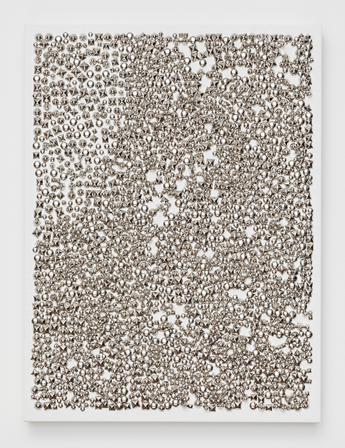 in Pictures for 'Move the world back from the abyss of destruction' at JTT. Image for Dan Colen, Turkish, 2014, Studs on canvas, 24 x 18 inches. Courtesy of the Artist and JTT