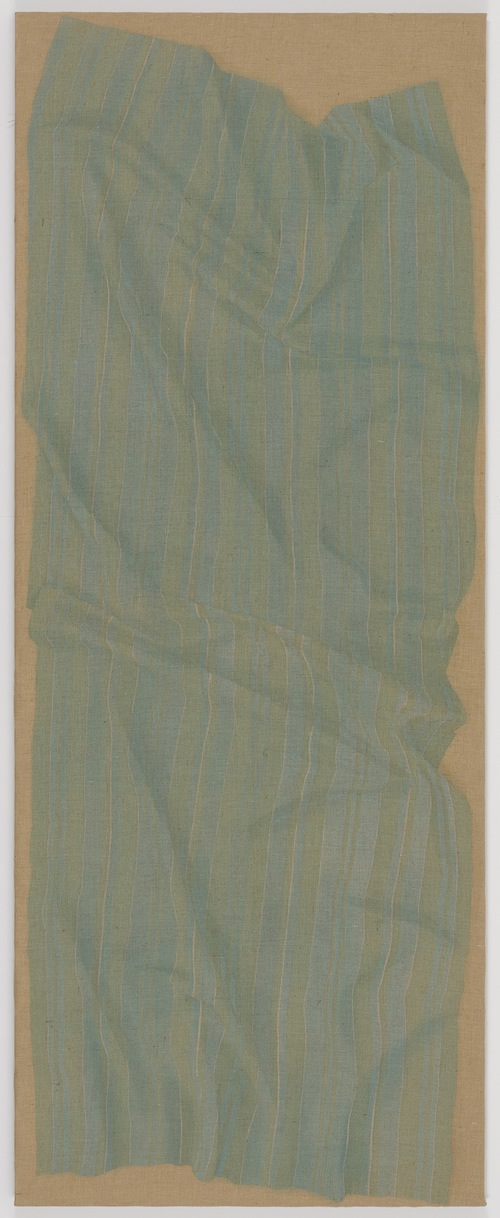 in Pictures for Helene Appel at James Cohan Gallery. Image for Helene Appel, Narrow Light Blue Fabric (4 Meter), 2014, Watercolor and acrylic on burlap, 142 1/2 x 55 7/8 in. (362 x 142 cm) © Helene Appel / Courtesy James Cohan Gallery, New York and Shanghai