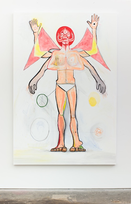 in Pictures for Jason Fox at CANADA. Image for Jason Fox, Don't Shoot Me, I'm Crazy, 2014, Oil, acrylic, pencil on canvas, 79.5 x 53 in. Courtesy of the Artist and Canada, New York