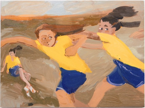 in Pictures for Jane Corrigan at Kerry Schuss. Image for Jane Corrigan, Three GIrls in a Field, 2014, oil on linen, 27 x 36.5 in (68.6 x 92.7 cm). Image courtesy of Kerry Schuss, New York