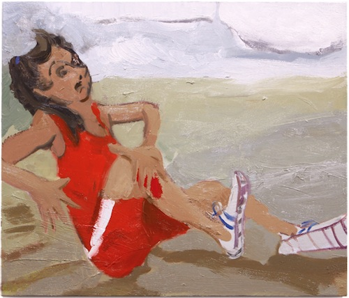 in Pictures for Jane Corrigan at Kerry Schuss. Image for Jane Corrigan, Hurt Girl (red), 2014, oil on linen, 26.5 x 31 in (67.3 x 78.7 cm). Image courtesy of Kerry Schuss, New York