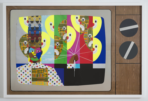 in Pictures for Derrick Adams at Tilton Gallery. Image for Derrick Adams, King for a Day, 2014, Mixed media collage on paper and mounted on archival museum board, Framed: 50 3/8 x 74 9/16 inches (128 x 189.4 cm). Courtesy of the artist and Tilton Gallery