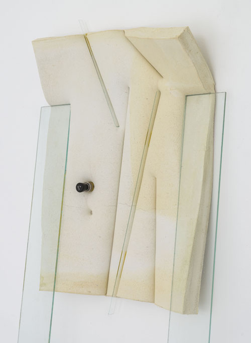 in Pictures for Dave Hardy at Churner and Churner. Image for Dave Hardy, 'Lighghts' (detail), 2014, glass, cement, polyurethane foam, tint, tape, aluminum, and car lighter, 73.5 x 21 x 10 inches. Courtesy of Churner and Churner, New York