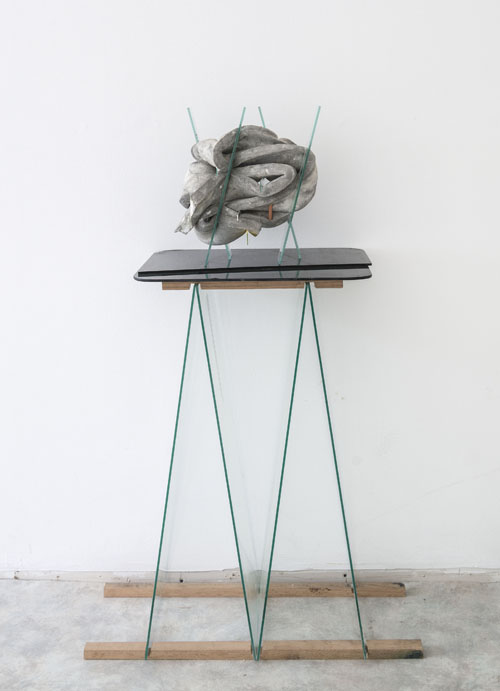 in Pictures for Dave Hardy at Churner and Churner. Image for Dave Hardy, 'Exes,' 2014, glass, cement, polyurethane foam, tint, tape, aluminum, pencil, and grease pencil, 14 x 12 x 8 inches. Courtesy of Churner and Churner, New York