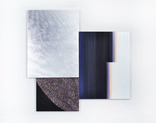 in Pictures for Lisa Beck at 33 Orchard. Image for Lisa Beck, 'Dark Side,' 2014, Three parts: Mylar on wood panel, Oil on wood panel, Glitter & acrylic on wood panel, 16 x 12 in. 16 x 12 in. & 8 x10 in. Courtesy 33 Orchard NYC, Photographer: Kevin Bud Jones