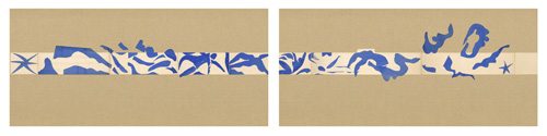 """in Pictures for Henri Matisse at MoMA. Image for Henri Matisse (French, 1869-1954). The Swimming Pool (La Piscine), late summer 1952. Maquette for ceramic (realized 1999 and 2005). Gouache on paper, cut and pasted, on painted paper. Overall 73 x 647"""" (185.4 x 1653.3 cm). Installed as nine panels in two parts on burlap-covered walls 136"""" (345.4 cm) high. Frieze installed at a height of 65"""" (165 cm). The Museum of Modern Art, New York. Mrs Bernard F. Gimbel Fund, 1975 © 2014 Succession H. Matisse / Artists Rights Society (ARS), New York"""