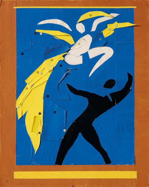 """in Pictures for Henri Matisse at MoMA. Image for Henri Matisse (French, 1869-1954). Two Dancers (Deux danseurs), 1937-38. Stage curtain design for the ballet Rouge et Noir. Gouache on paper, cut and pasted, notebook papers, pencil, and thumbtacks. 31 9/16 x 25 3/8"""" (80.2 x 64.5 cm). Musée national d'art moderne/Centre de création industrielle, Centre Georges Pompidou, Paris. Dation, 1991. © 2014 Succession H. Matisse / Artists Rights Society (ARS), New York"""