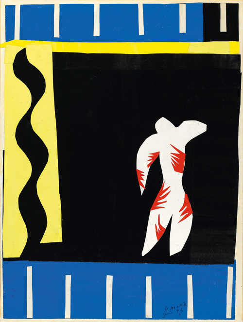 """in Pictures for Henri Matisse at MoMA. Image for Henri Matisse (French, 1869-1954). The Clown (Le Clown), 1943. Maquette for plate I from the illustrated book Jazz (1947). Gouache on paper, cut and pasted, mounted on canvas. 26 7/16 x 19 15/16"""" (67.2 x 50.7 cm). Musée national d'art moderne/Centre de création industrielle, Centre Georges Pompidou, Paris. Dation, 1985. © 2014 Succession H. Matisse / Artists Rights Society (ARS), New York"""